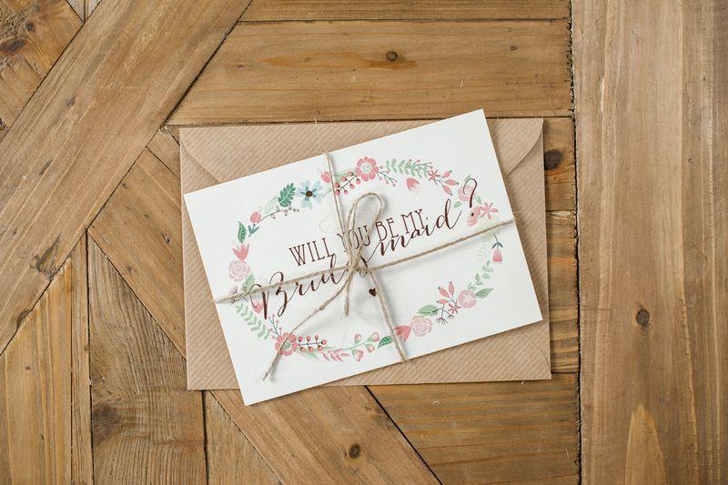 "Postkarten Set ""Bridesmaid"" von Papier & Feder auf DaWanda.com"