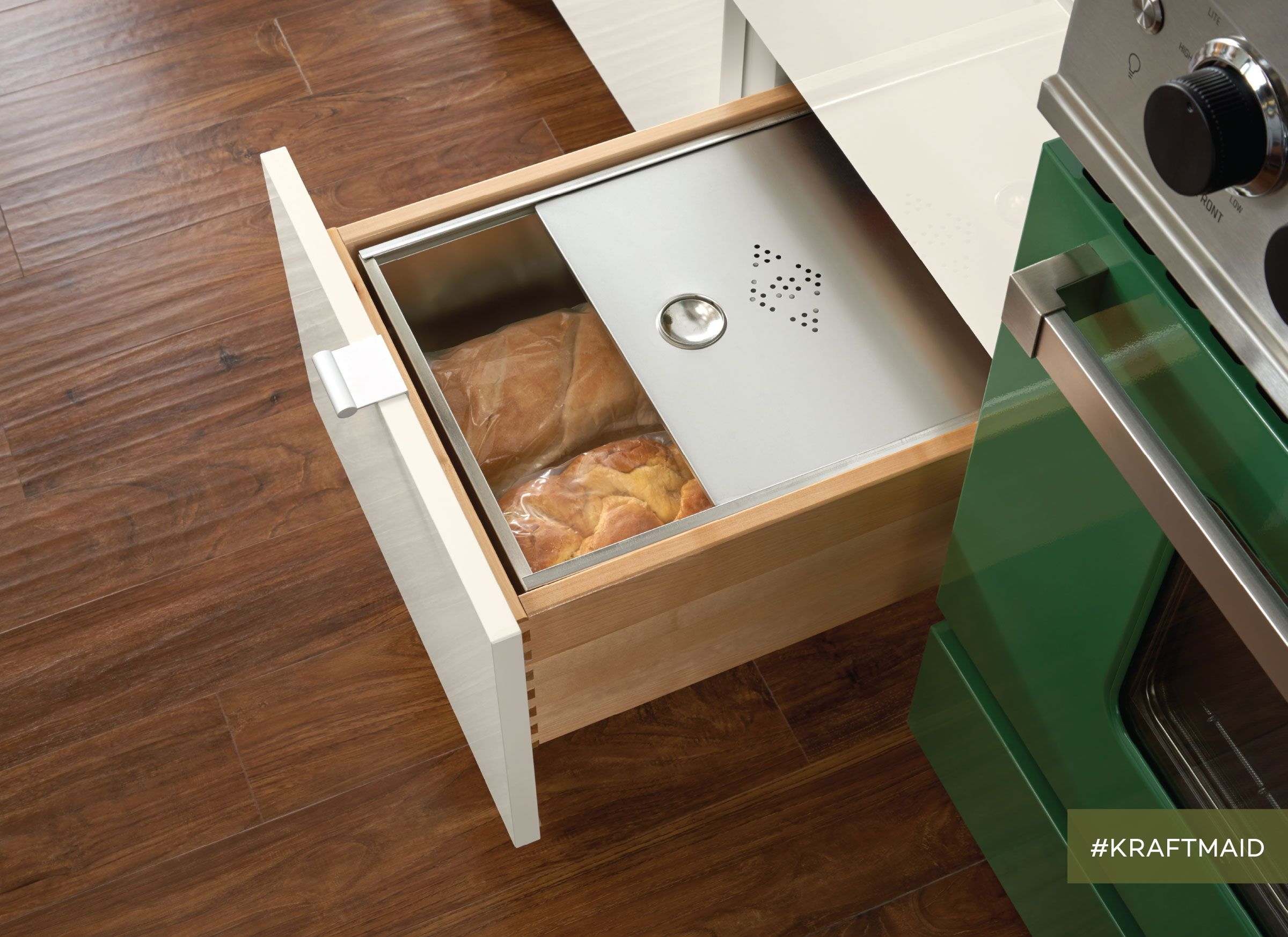 Keep Fresh Bread Handy In A Base Kitchen Drawer Separate From The Rest Of Your Groceries Kr Kraftmaid Kitchen Cabinets Kraftmaid Kitchens Kraftmaid Cabinets