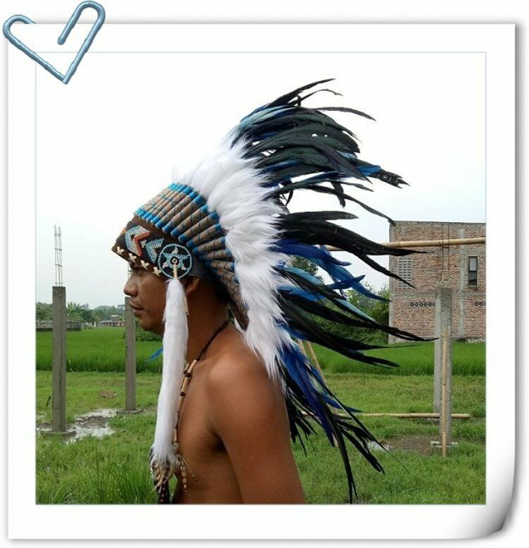 American Native Warbonnet Chief Indian Headdress Feather Headdress Feather Hat S