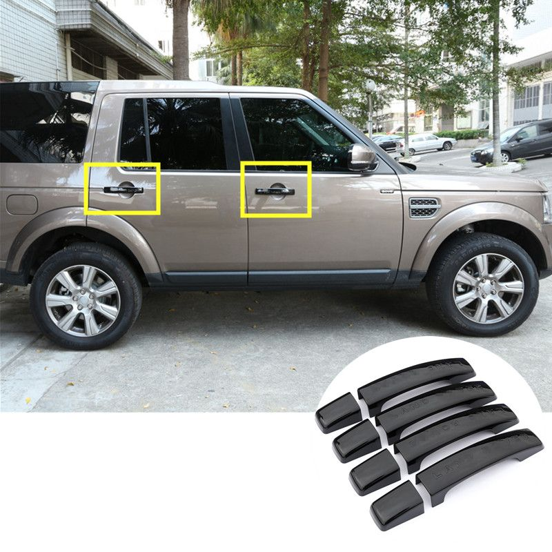 For Land Rover Lr4 Discovery 4 Black Car Door Handle Cover Trim 8pcs 2010 2015