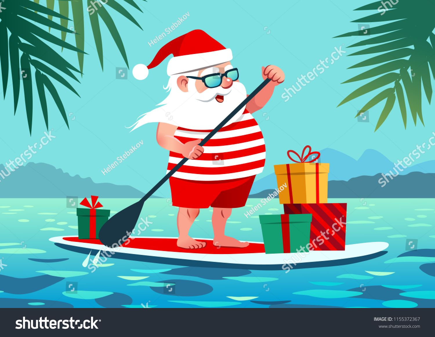 Christmas In July Royalty Free Images.Cute Santa Claus On Paddle Board With Gifts Against Tropical