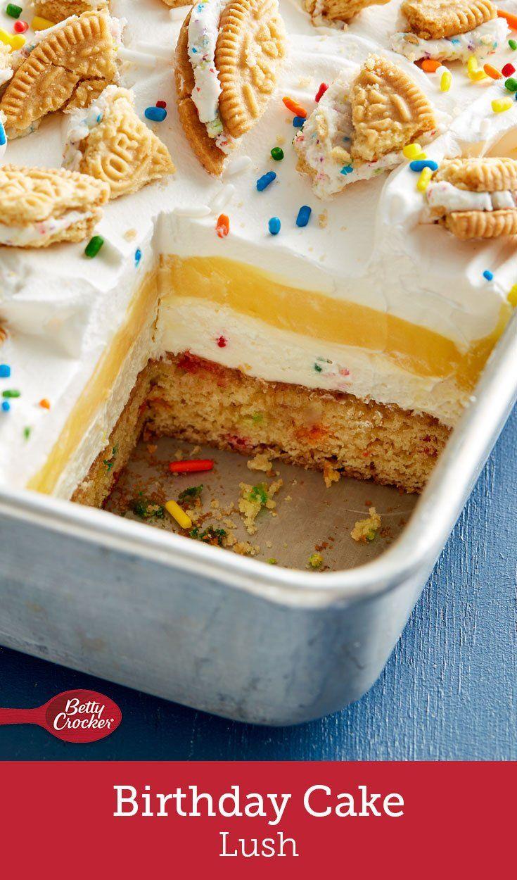 Birthday Cake Lush Recipe Cake mix bars Yellow cake mixes and