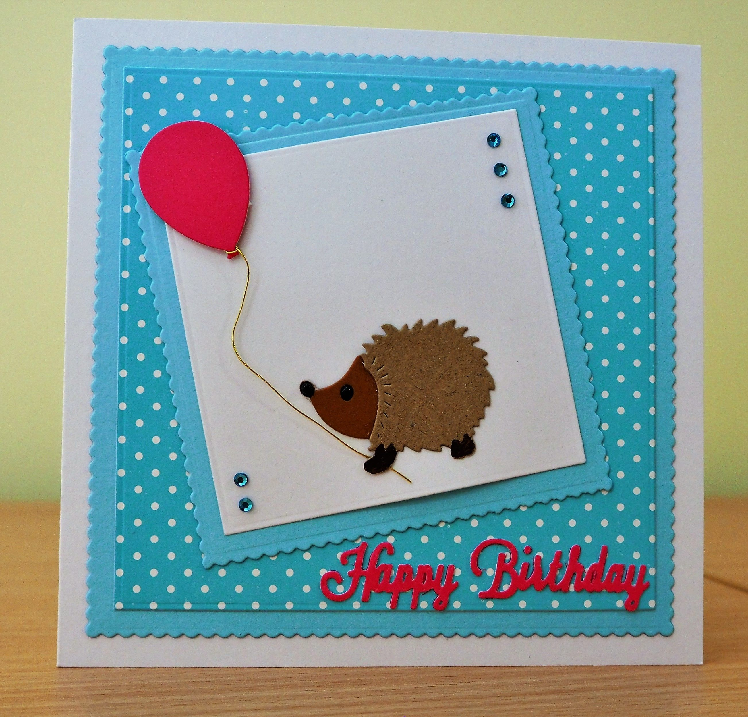 Handmade Birthday Card Cottage Cutz Hedgehog Die With Balloon For