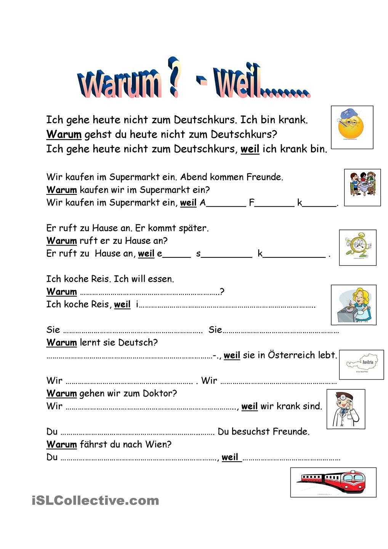 Worksheets Learning German Worksheets warum weil deutsch pinterest printable worksheets arbeitsblatt kostenlose daf worksheetslearn germangerman
