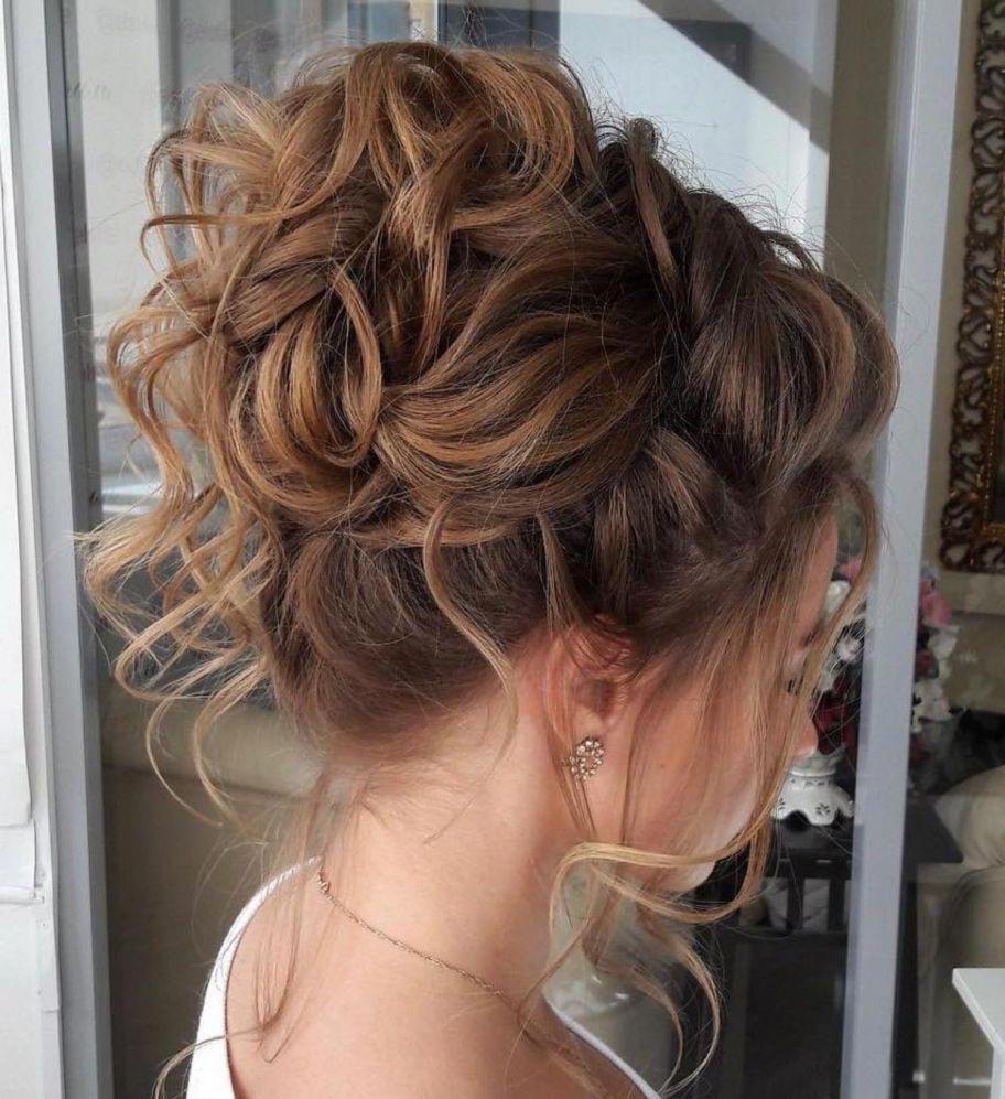 Elegant Evening Top Bun Hairupdos In 2020 Curly Hair Bun Styles Messy Hairstyles Curly Hair Updo