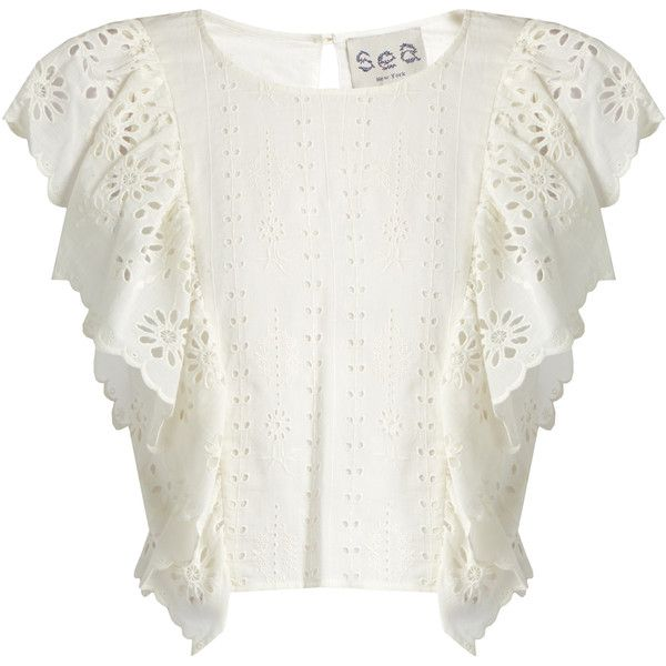 Sea Ruffled-front broderie-anglaise cotton top (4.680 ARS) ❤ liked on