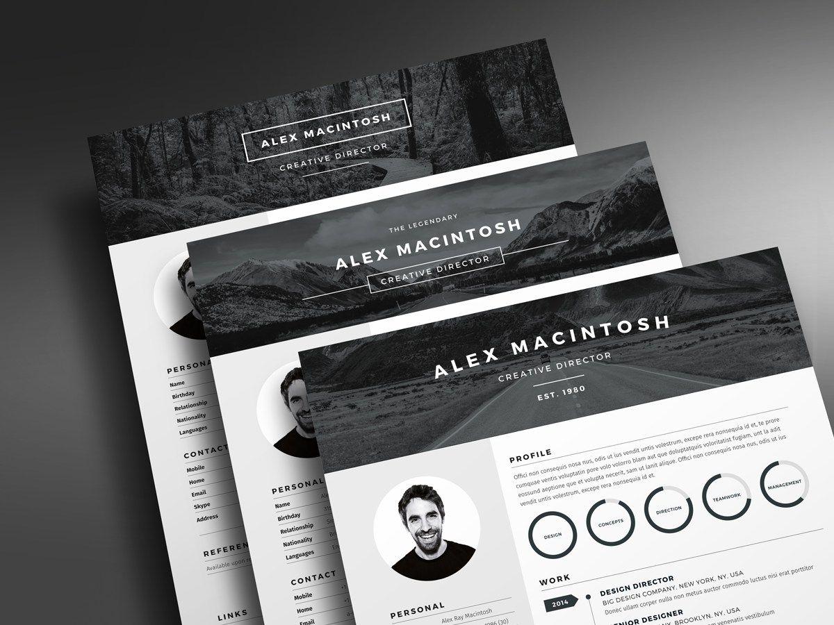 Header design Mono Resume template by ikonome