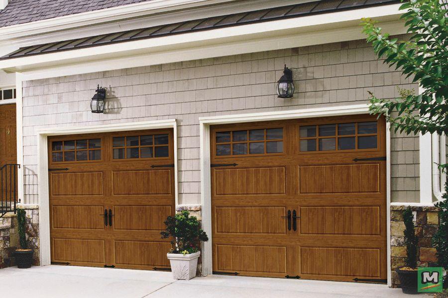 This Ultra Grain Medium Oak Door With Mullioned Windows Is Constructed With Insulation Between Two Steel Ski Garage Doors Garage Door Design Garage Door Types