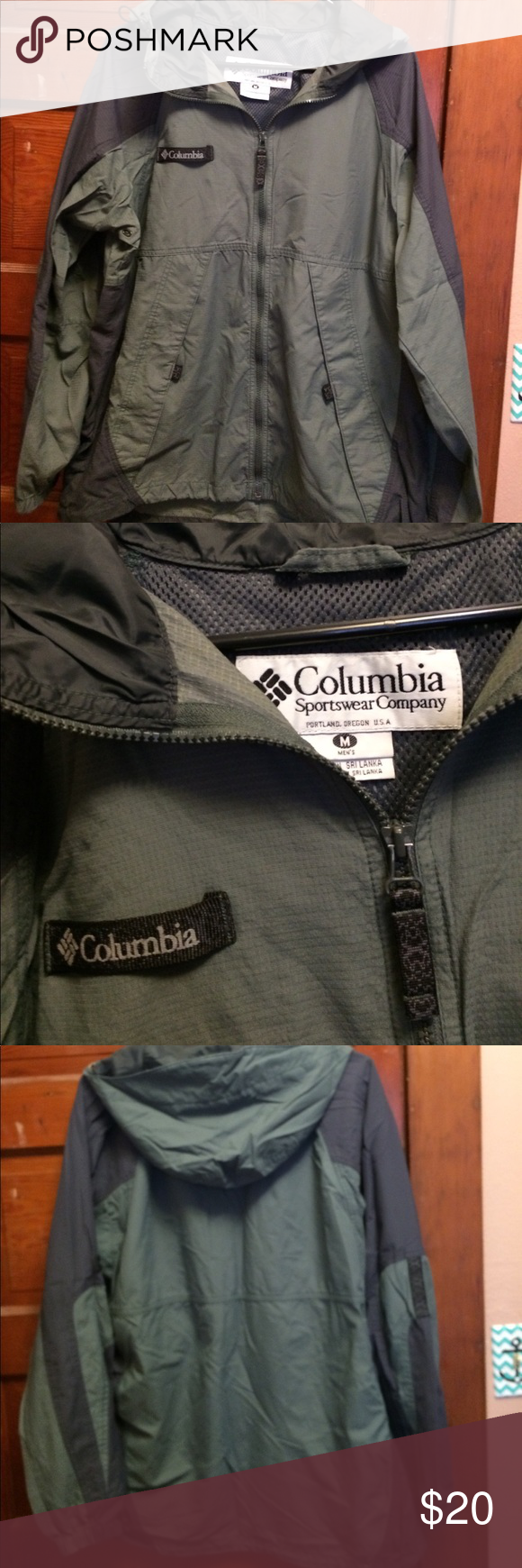Men's Columbia jacket Size Medium, excellent shape!! Columbia spring/fall jacket, green/ gray. Columbia Jackets & Coats