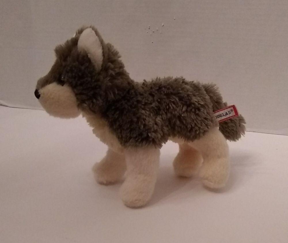 Douglas Cuddle Gray Wolf Plush 8 4036 2010 Plush Stuffed Animal
