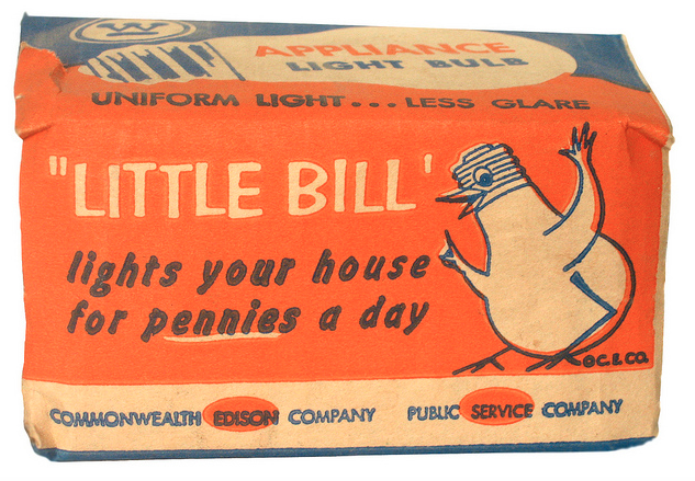 """Vintage light bulb package from the 1950's featuring Commonwealth Edison's classic icon - """"Little Bill."""""""