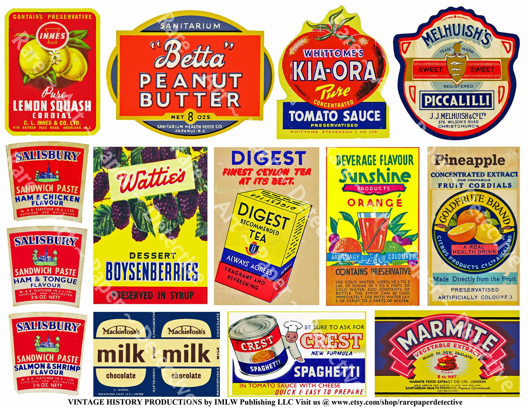Vintage Grocery Advertising Printed Sheet New Zealand Kitchen Labels Antique General Store Ads Pantry Sign Ad Advertising Signs Kitchen Labels Pantry Sign