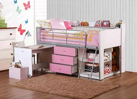 Kids beds with storage and desk Study Table Loft Bed With Desk And Storage White Pink Twin Size Girl Teens Bedroom Furniture Pinterest Loft Bed With Desk And Storage White Pink Twin Size Girl Teens