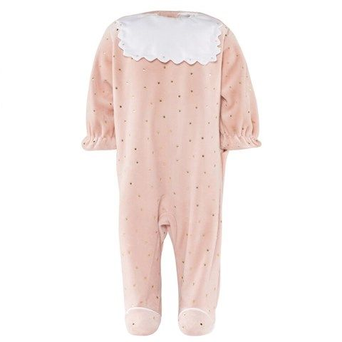 Cyrillus Pink Babygrow With Gold Spots And Scalloped Collar Baby