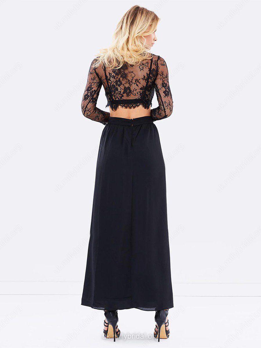 2018 A Line Two Piece Prom Dress Modest Beautiful Lace Black Cheap Long  Prom Dress  VB1640 87ba212f5