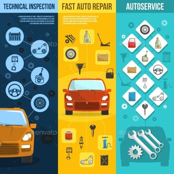 Auto service vertical banner set auto service banners for Family motors auto repair