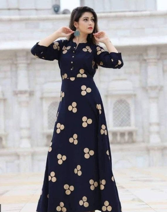 28d939da5f4 Bollywood Style Designer Long Indian Dress Maxi Dress Gown Kurti with Foil  Print Embroidery Navy Blu