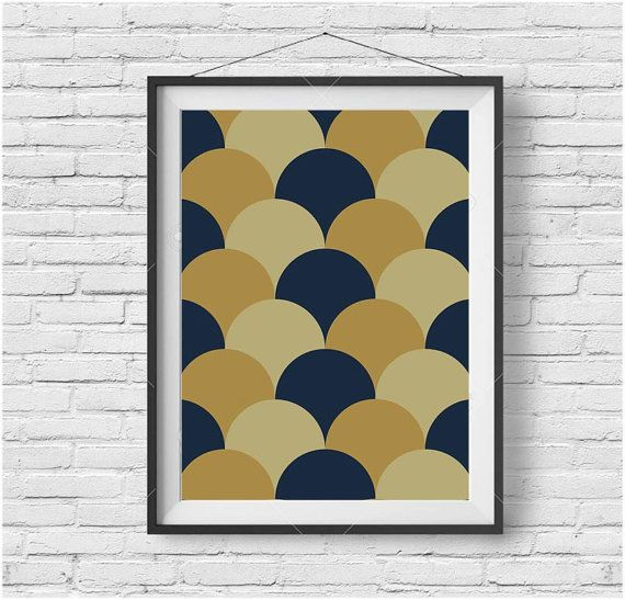 Retro Print, Retro Wall Art, Retro Poster, Mustard and Navy Print ...