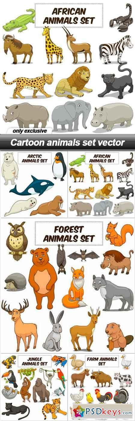 Cartoon Animals Set Vector 5 Eps Cartoon Animals Animals Cartoon
