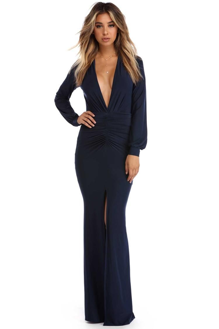Navy nancy long sleeve ruched dress products
