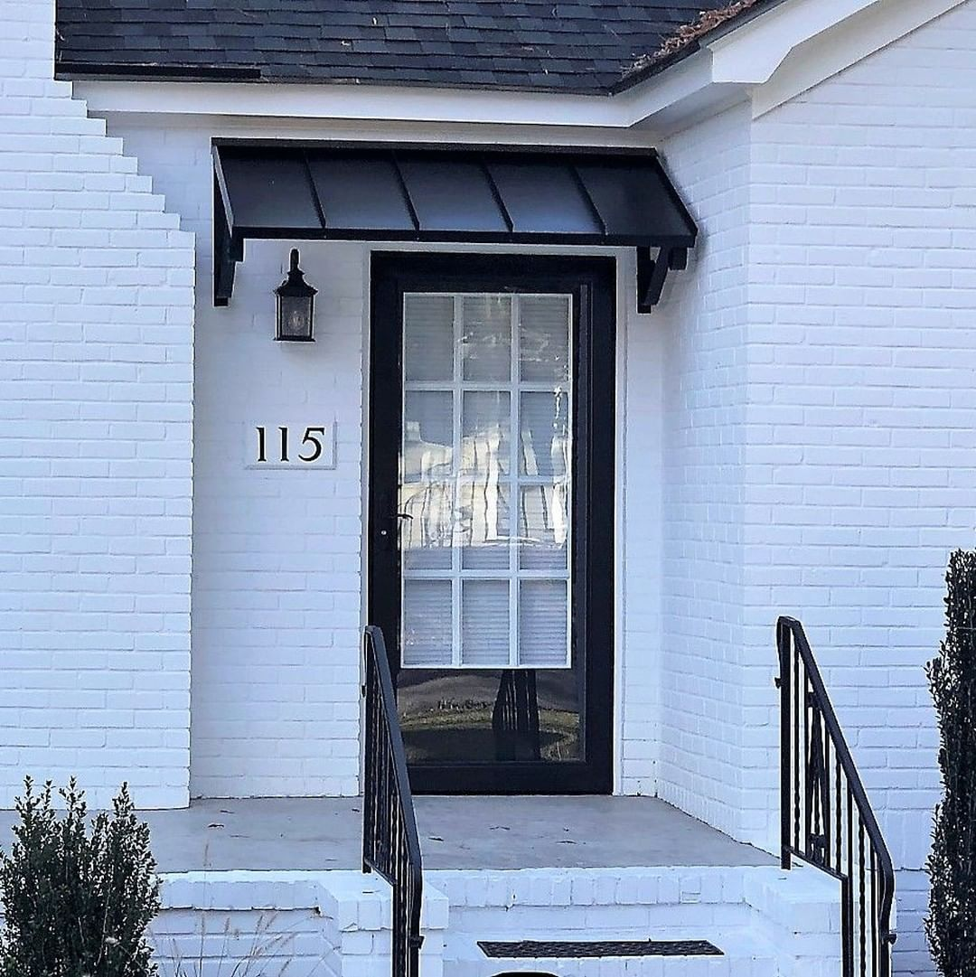 Awningdesign Posted To Instagram The Classic Black Metal Awning With The Single S Scrolls Awnings Copperawning Awning Over Door House Awnings Door Awnings