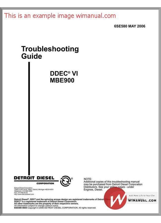 Detroit sel Ddec Vi Mbe900 Troubleshooting Guide pdf ... on