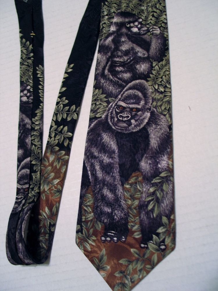 Mountain Gorillas 1996 Marc Dennis 100% Silk Tie - Endangered Species Made USA #EndangeredSpecies #Tie