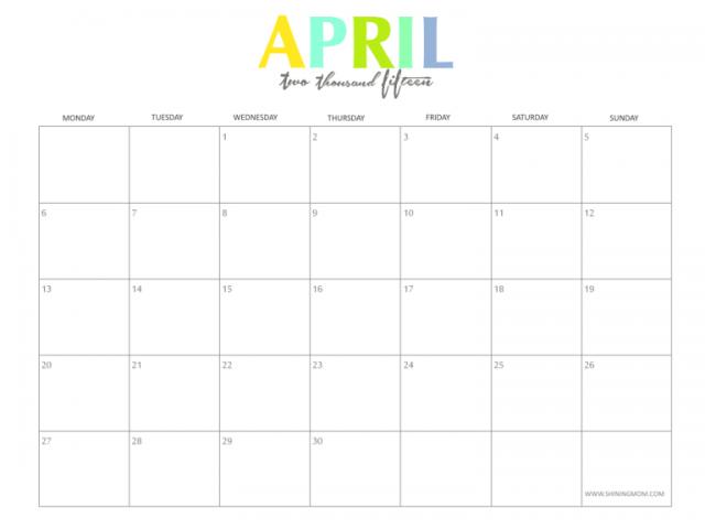 Check Out April 2015 Calendar Images Doc Printable Pdf Excel