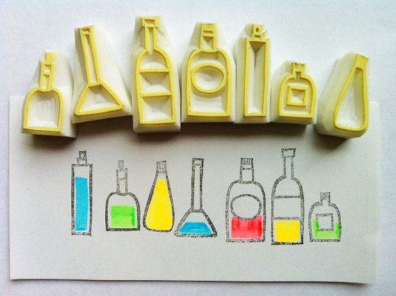 Bottle rubber stamp set kitchen hand carved