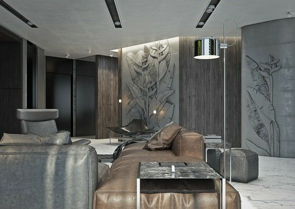 dco salon en marron - Deco Salon Luxueux Et Moderne Marron Et Noir