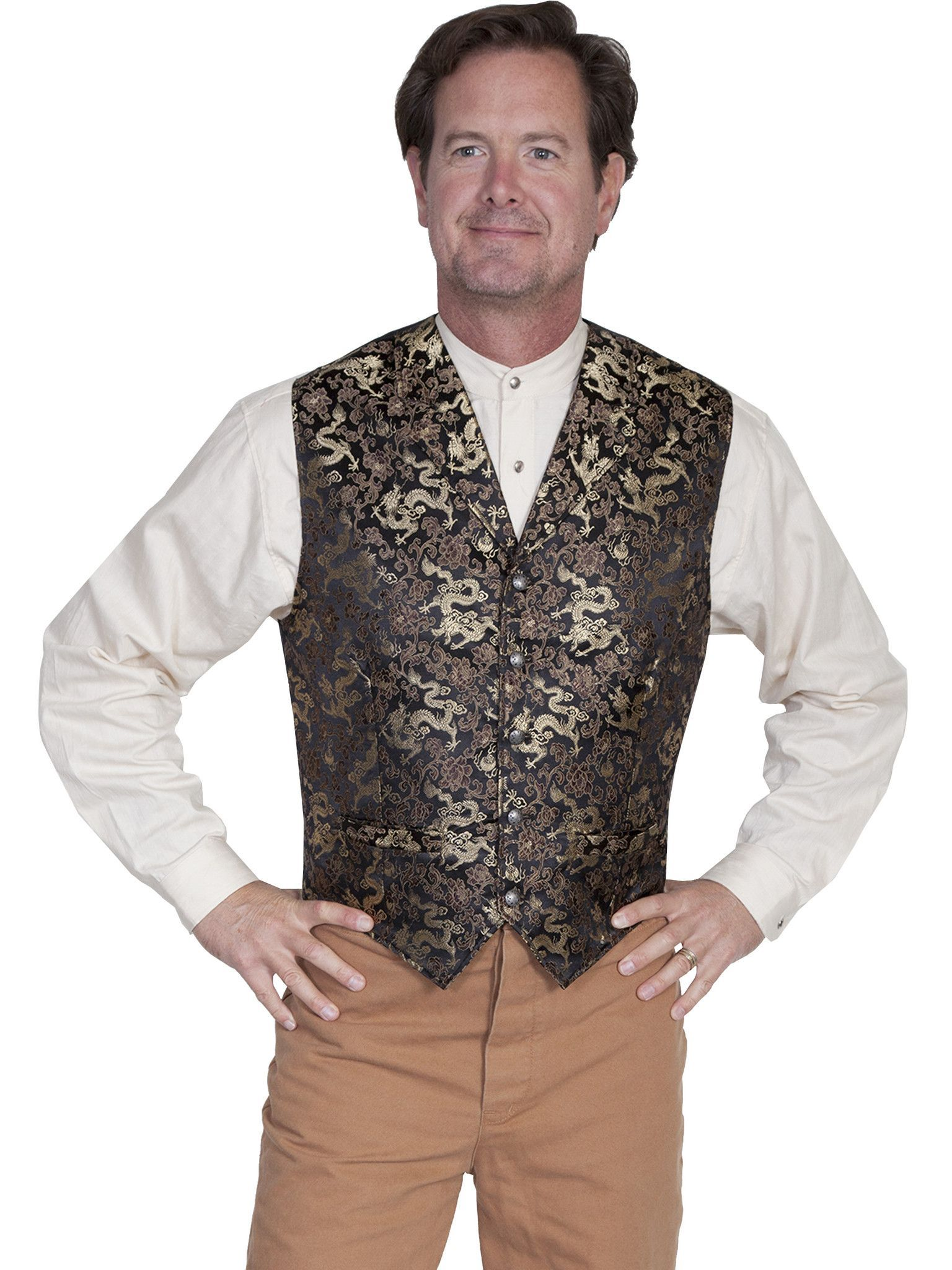 Old West Collection Vest: Wahmaker Fancy Classic Dragon Gold