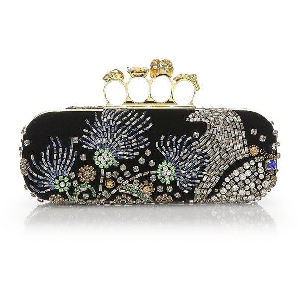 Alexander McQueen Beads Embellishment Long Box Clutch ($2,337) ❤ liked on  Polyvore featuring bags