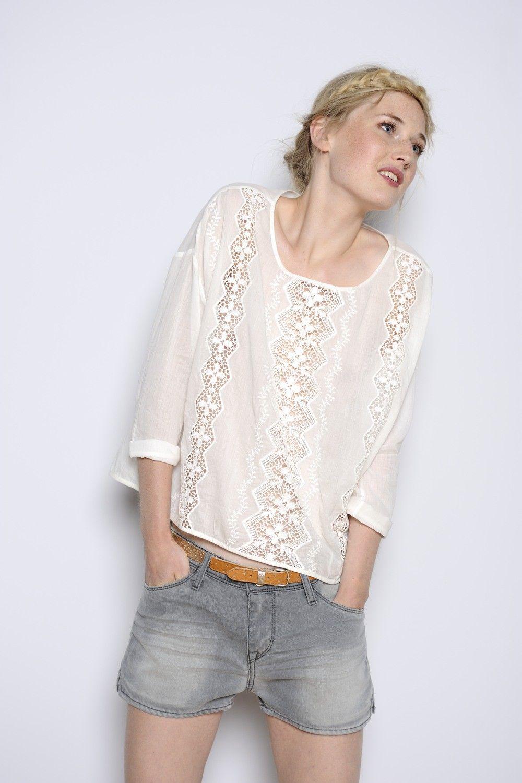 Ecru Kiria blouse 100% coton - chemise Woman
