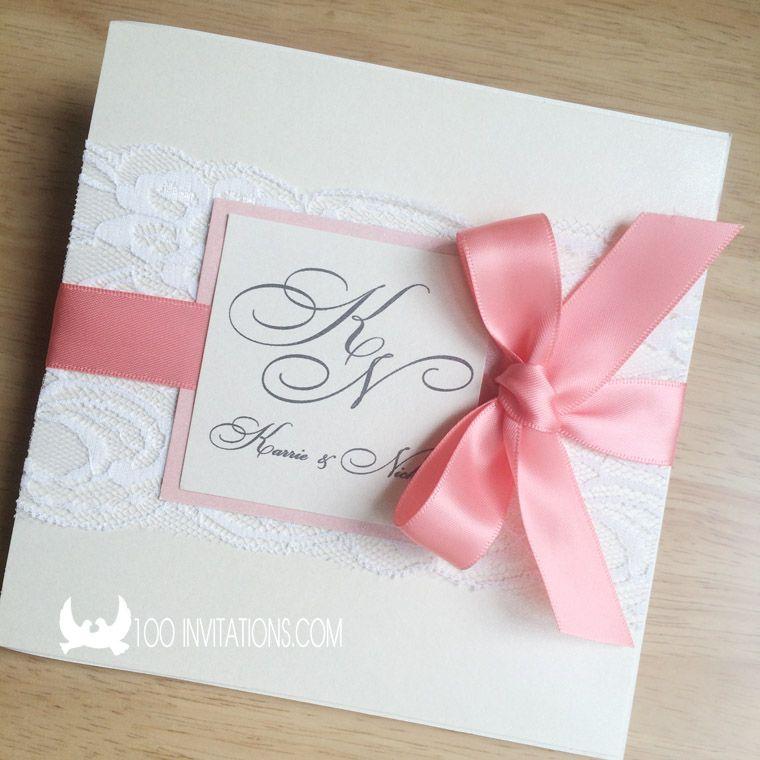 Coral Ribbon Lace Pocket Wedding Invitations