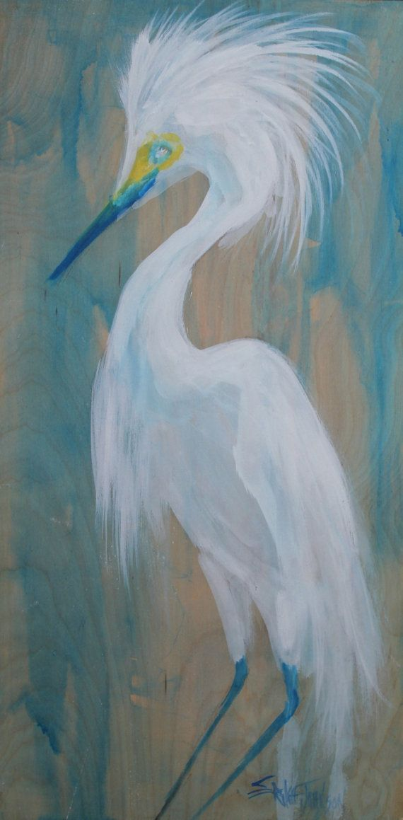 White egret heron painting on birch panel by for White heron paint