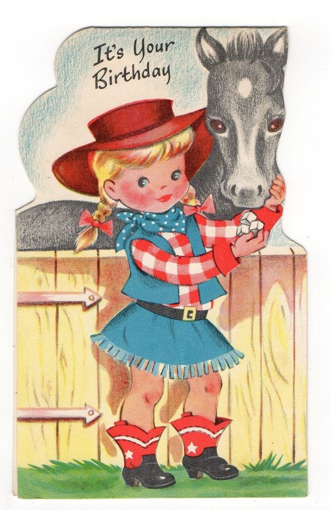 Vintage Buzza Cardozo Birthday Greeting Card Adorable Cowgirl