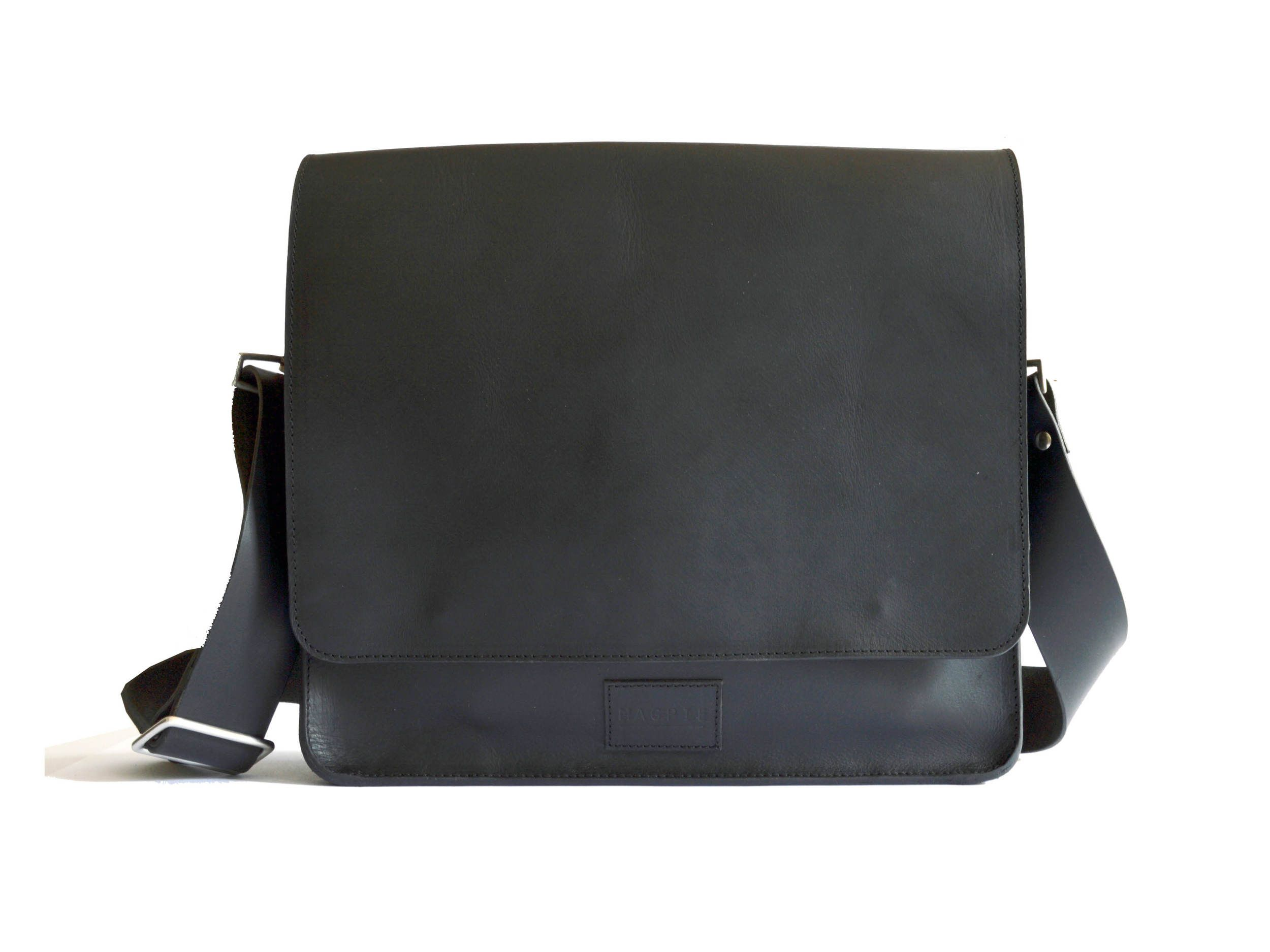 """This sleek and high quality all leather messenger bag is perfect for the boardroom or just looking your best around town. Besides the ample space for a laptop in the main pocket, the Sylvester comes with a zipped pocket on the back perfect for a wallet, as well as a small side pocket for easy access to small items like a debit or metro card.    Overall Dimensions: 13""""L x 3.5""""W x 11.5""""H (2"""" wide strap)"""