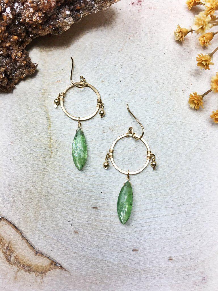Prelude Earrings - Green Kyanite 14k Gold Fill Hoop