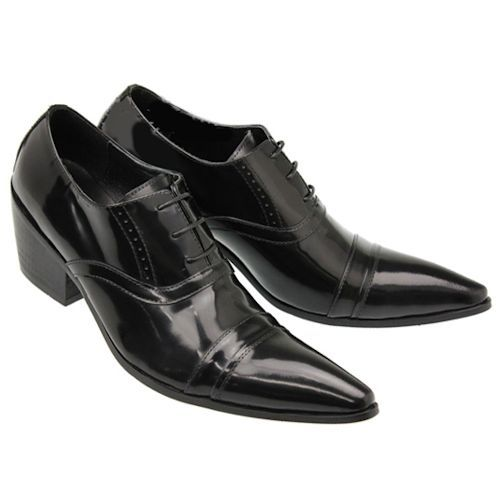 b8fa490aa85 Mens Black Patent Leather Pointy High Heel Wedding Prom Dress Shoes ...