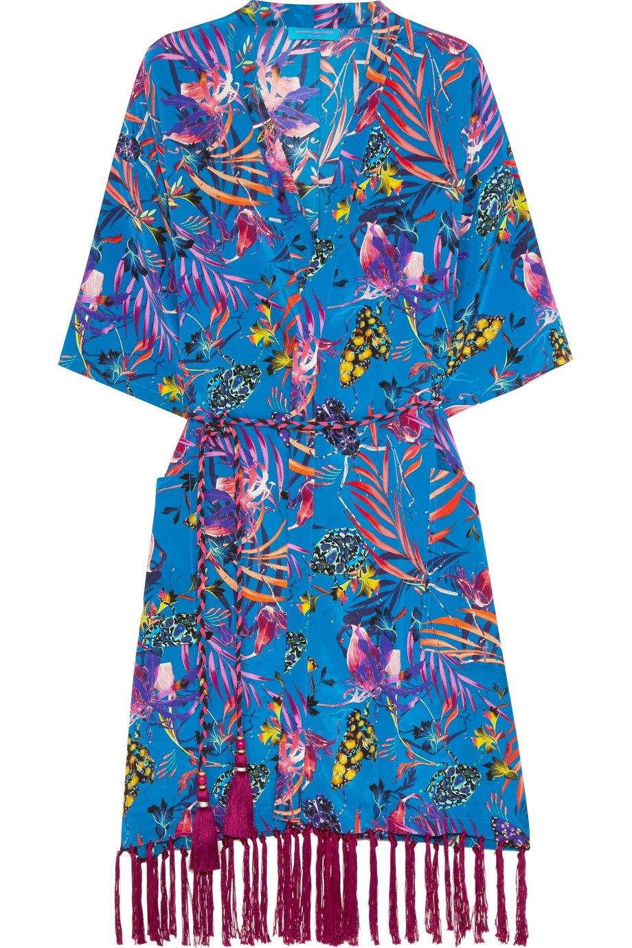Matthew Williamson | Tasseled printed silk crepe de chine kimono | NET-A-PORTER.COM