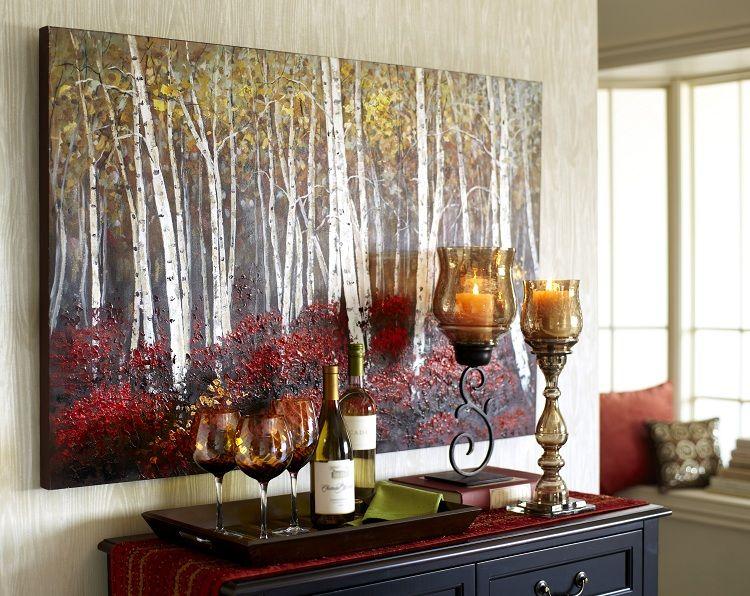 red birch trees art tree wall living rooms and leather furniture. Black Bedroom Furniture Sets. Home Design Ideas