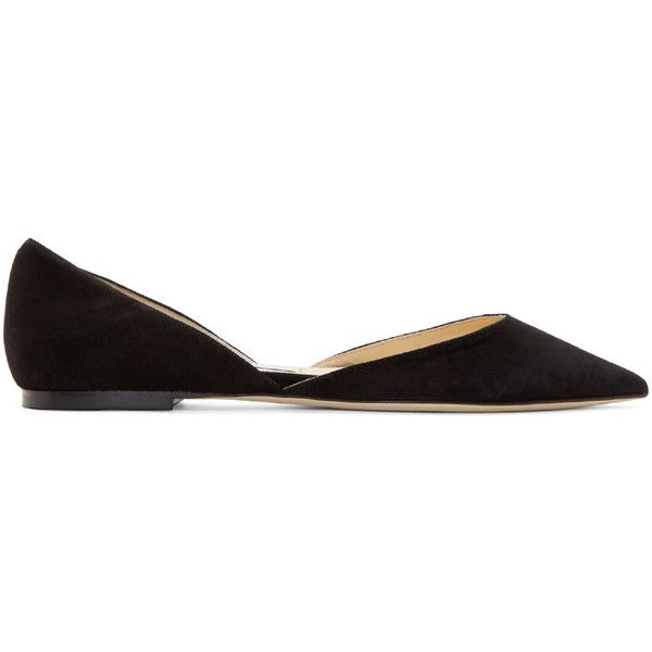 Jimmy Choo Black Suede Darylin DOrsay Flats ($520) ❤ liked on Polyvore featuring shoes, flats, black flats, black pointy toe flats, suede shoes, flat pumps and black flat shoes