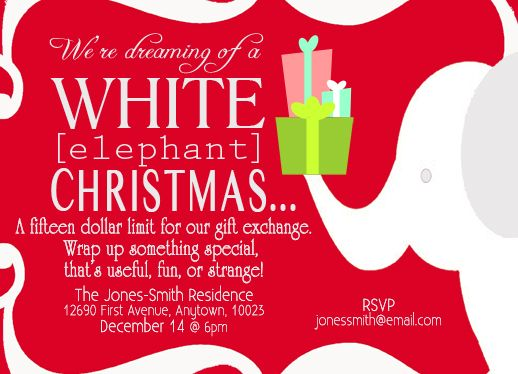 White elephant gift exchange invitations as seen on everybody loves a white elephant gift exchange holiday party host a fun party with these negle Gallery