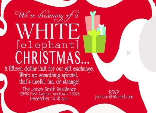 White Elephant Chinese Gift Exchange By Lunapetuniadesigns 10 50 White Elephant Gifts Elephant Gifts White Elephant Invitations