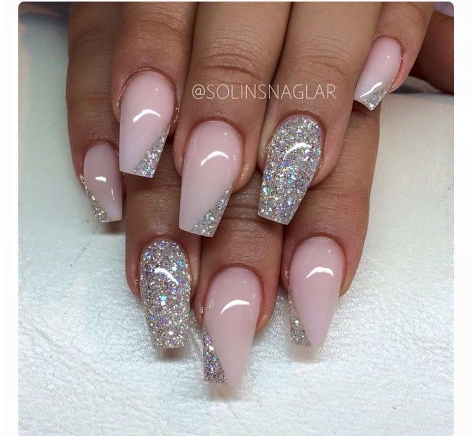 Pale Pink And Glitter Silver Glitter Nails Prom Nails Pink Nails