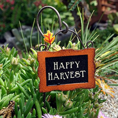 "Happy Harvest Sign with Hook. www.teeliesfairygarden.com . . . It's harvest time! The farmers are welcomed with this lovely ""Happy Harvest"" sign with a hook! It's a beautiful addition to your fairy garden! #fairysign"