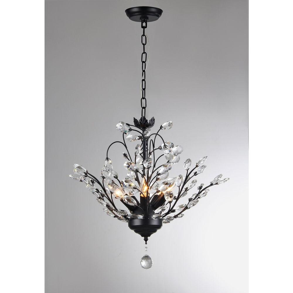 Unbranded Aria 5 Light Black Crystal Leaves Chandelier With Shade P16815 The Home Depot Warehouse Of Tiffany Black Crystals Chandelier Shades
