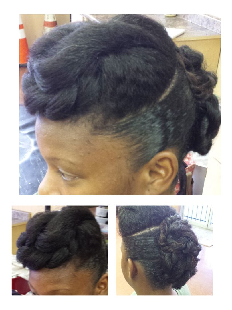 Natural hair protective style great for weddings and formal events