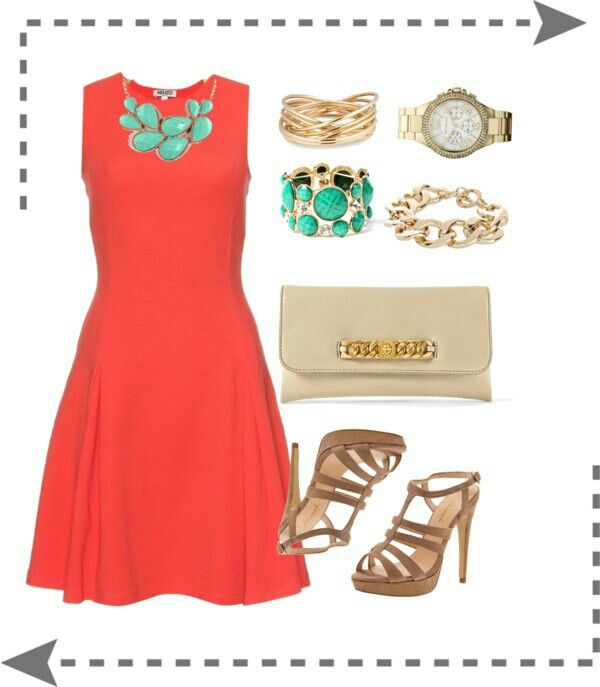 Coral dress outfit | CuTe DudS | Pinterest | Dress set, Colors and ...