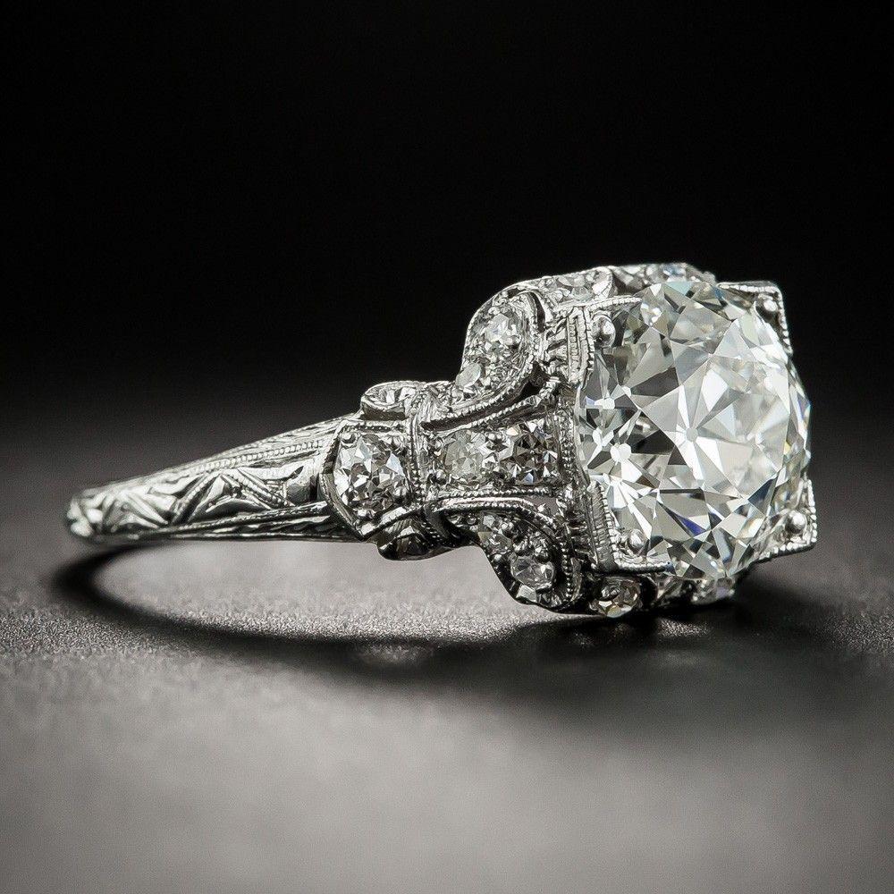 Photo of Art Deco 2.46 Carat Diamond Platinum Engagement Ring – GIA I VS1
